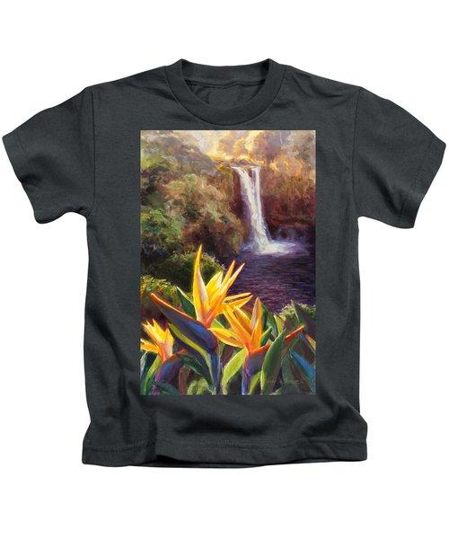 Rainbow Falls Big Island Hawaii Waterfall  Kids T-Shirt