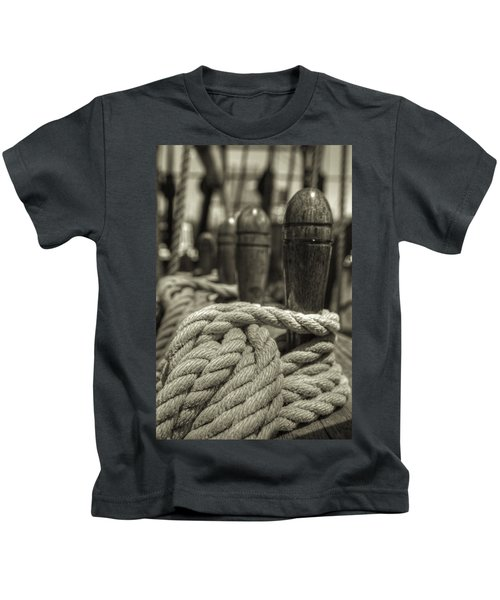 Ready For Work Black And White Sepia Kids T-Shirt
