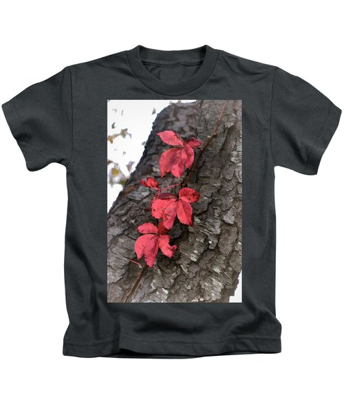 Red Leaves On Bark Kids T-Shirt