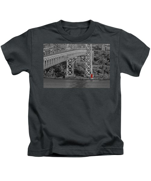Red Lighthouse And Great Gray Bridge Bw Kids T-Shirt