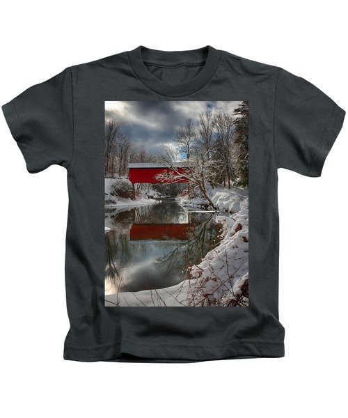 reflection of Slaughterhouse covered bridge Kids T-Shirt