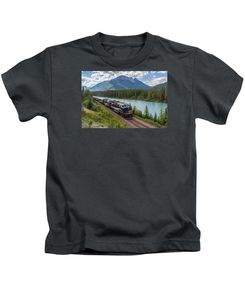 Rocky Mountaineer At Muleshoe On The Bow River Kids T-Shirt