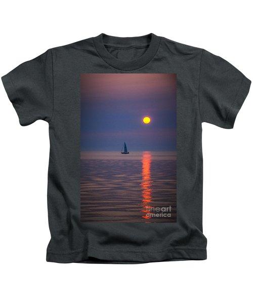 Sailboat At Sunrise Kids T-Shirt