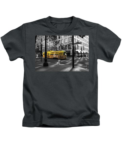 San Francisco Vintage Streetcar On Market Street - 5d19798 - Black And White And Yellow Kids T-Shirt