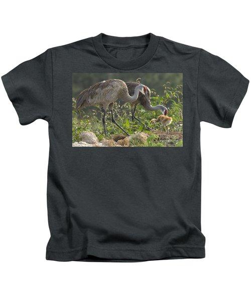 Sandhill Crane Family Kids T-Shirt