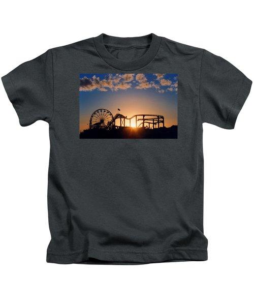 Santa Monica Pier Kids T-Shirt by Art Block Collections
