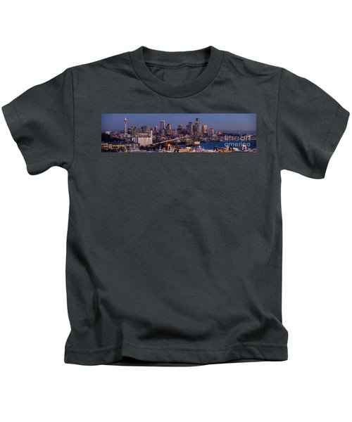 Seattle Skyline From Magnolia At Dusk Kids T-Shirt