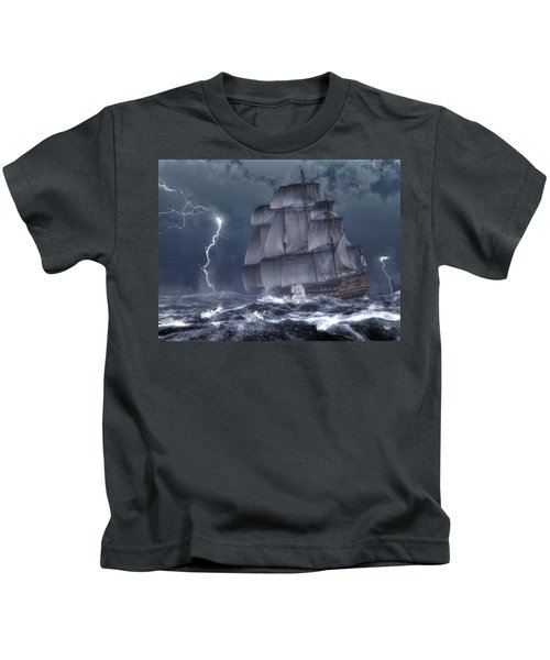 Ship In A Storm Kids T-Shirt