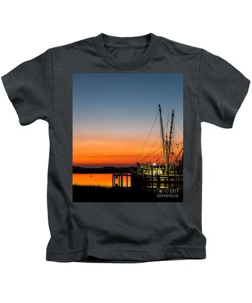 Shrimp Boat At Dusk Folly Beach Kids T-Shirt