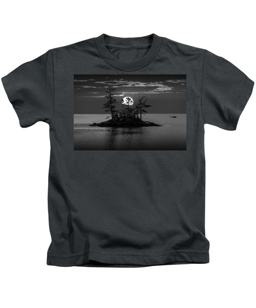 Small Island At Sunset In Black And White Kids T-Shirt