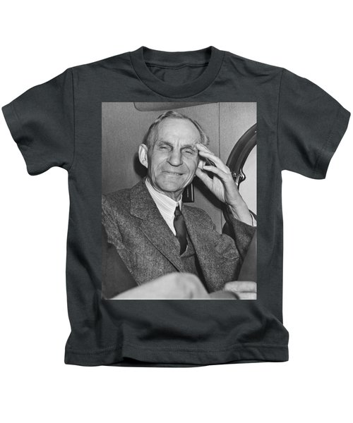 Smiling Henry Ford Kids T-Shirt by Underwood Archives