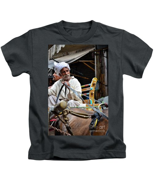 Smiling Man Drives Horse Carriage In Lahore Pakistan Kids T-Shirt