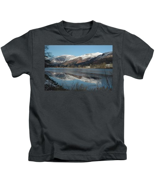 Snow Lake Reflections Kids T-Shirt by Kathy Spall