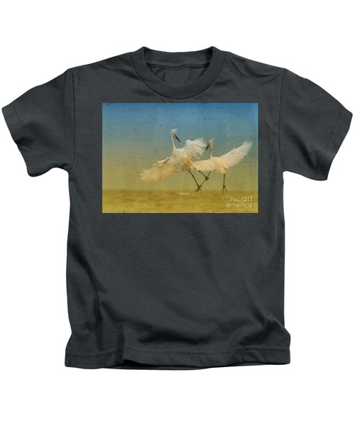 Snowy Egret Dance Kids T-Shirt