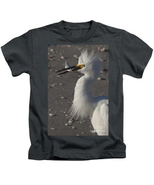 Snowy Egret Fishing Kids T-Shirt