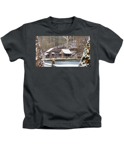 Snowy Morning In The Woods Kids T-Shirt