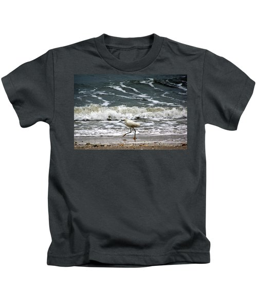 Snowy White Egret Kids T-Shirt