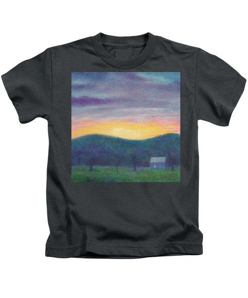 Blue Yellow Nocturne Solitary Landscape Kids T-Shirt