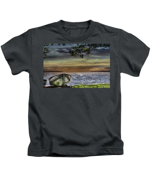 South Manistique Lake With Rowboat Kids T-Shirt