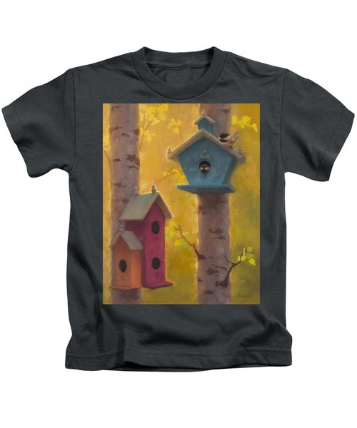 Spring Chickadees 2 - Birdhouse And Birch Forest Kids T-Shirt