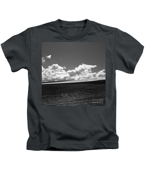 Sprouting Field Of Sunflowers And Field Of Rape At Back. Auvergne. France Kids T-Shirt