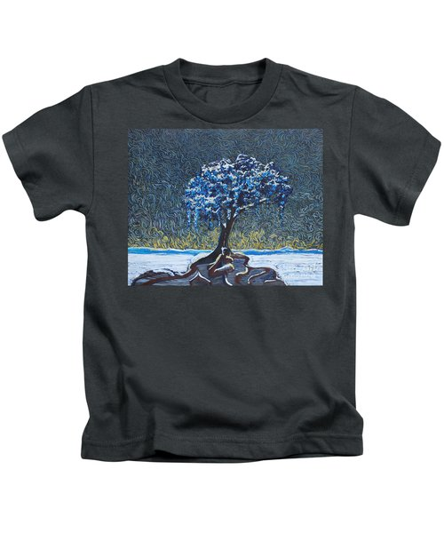 Standing Alone In The Snow Kids T-Shirt