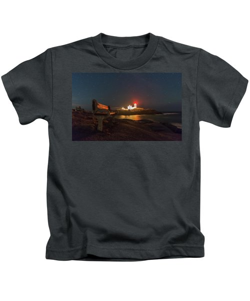 Starry Skies Over Nubble Lighthouse  Kids T-Shirt