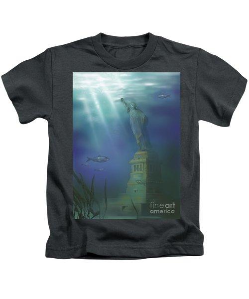 Statue Of Liberty Under Water Kids T-Shirt