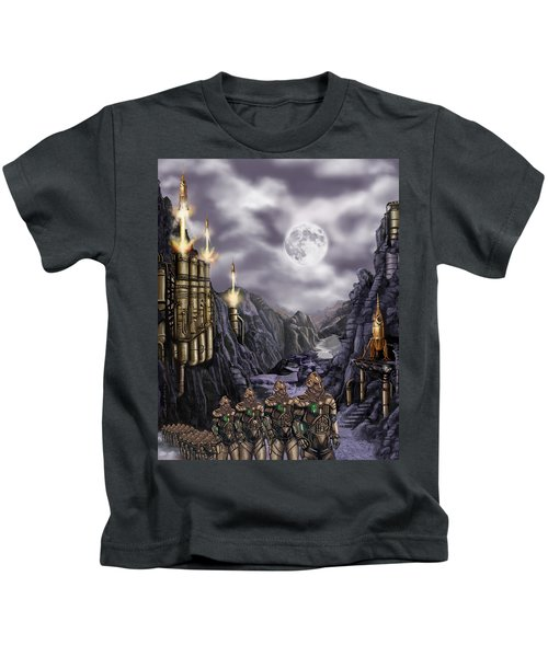 Steampunk Moon Invasion Kids T-Shirt