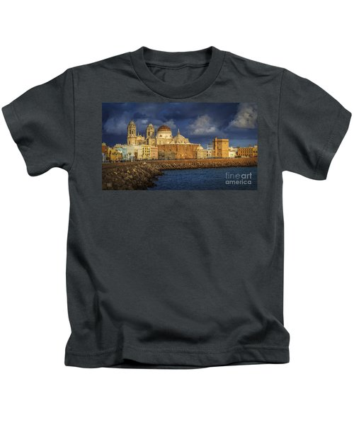 Stormy Skies Over The Cathedral Cadiz Spain Kids T-Shirt