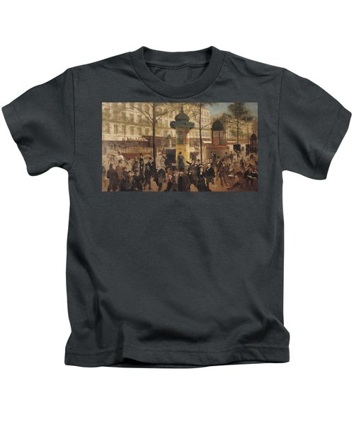 Study For A Panorama Of The Boulevard De Montmartre, 1877 Oil On Canvas Kids T-Shirt