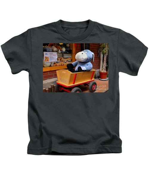 Stuffed Donkey Toy In Wooden Barrow Cart Kids T-Shirt