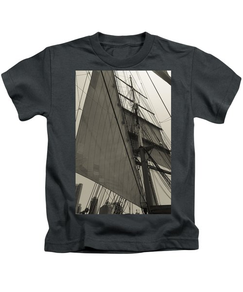 Suare And Triangle Black And White Sepia Kids T-Shirt
