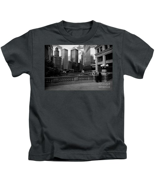 Summer On The Chicago River - Black And White Kids T-Shirt