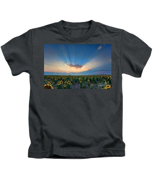 Sunflower Field At Sunset Kids T-Shirt