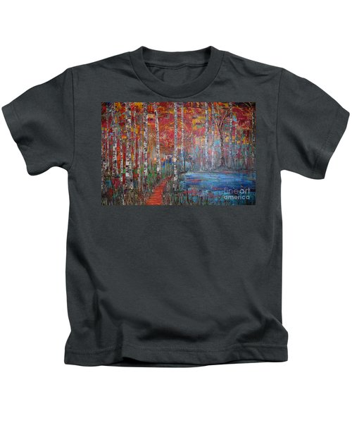 Sunlit Birch Pathway Kids T-Shirt