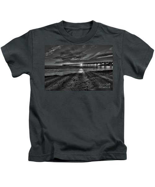 Sunrays Through The Pier In Black And White Kids T-Shirt