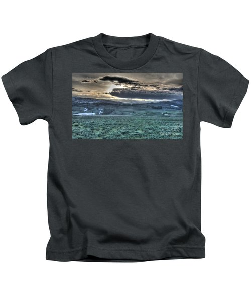 Sunrise At A Small Pond In Yellowstone Kids T-Shirt