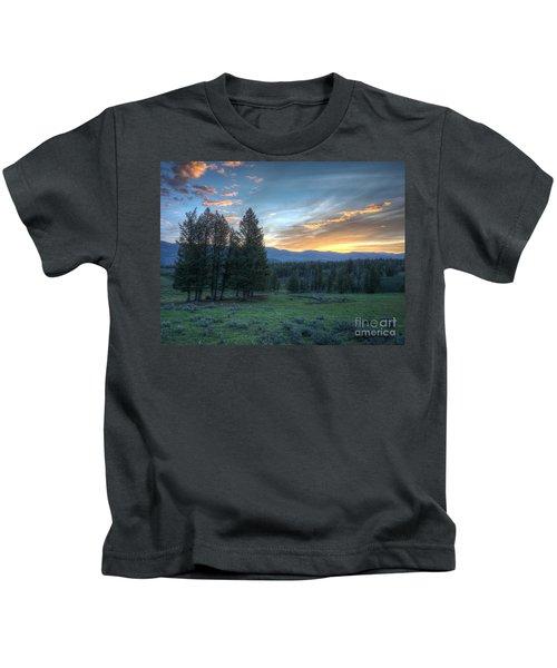 Sunrise Behind Pine Trees In Yellowstone Kids T-Shirt