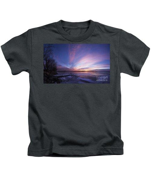 Sunset At Lovewell Lake Kansas Kids T-Shirt