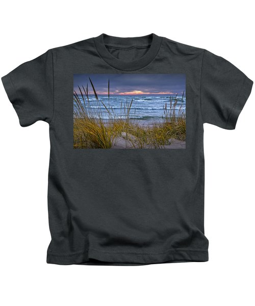 Sunset On The Beach At Lake Michigan With Dune Grass Kids T-Shirt