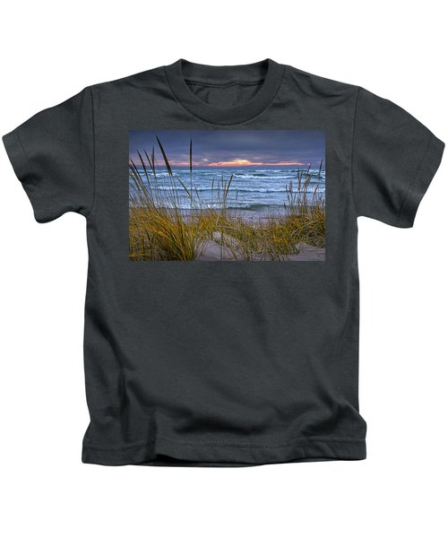 Sunset On The Beach At Lake Michigan With Dune Grass Kids T-Shirt