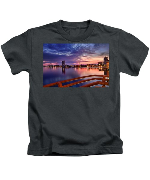 Sunset Balcony Of The West Palm Beach Skyline Kids T-Shirt