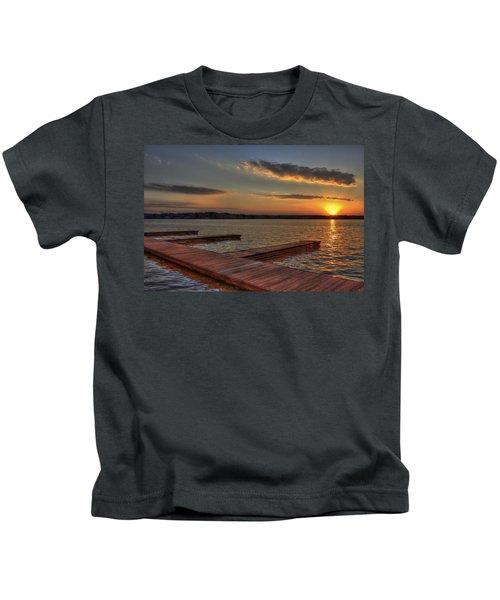 Sunset Docks On Lake Oconee Kids T-Shirt by Reid Callaway