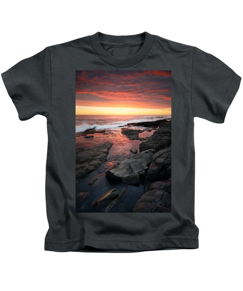 Sunset Over Rocky Coastline Kids T-Shirt
