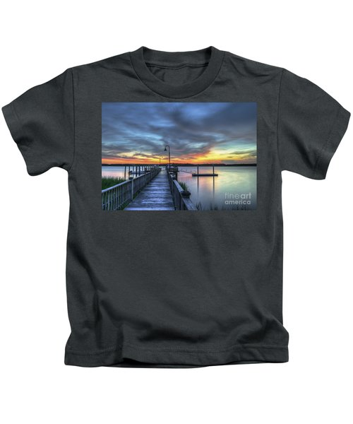Sunset Over The River Kids T-Shirt