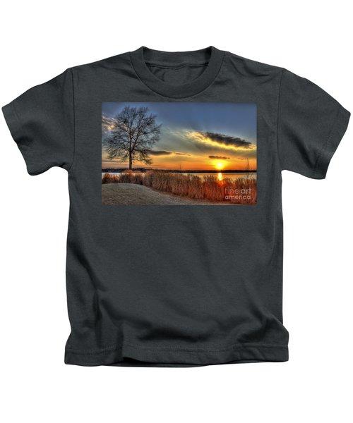 Sunset Sawgrass On Lake Oconee Kids T-Shirt by Reid Callaway