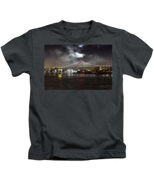 Super Moon And Triboro Bridge Kids T-Shirt