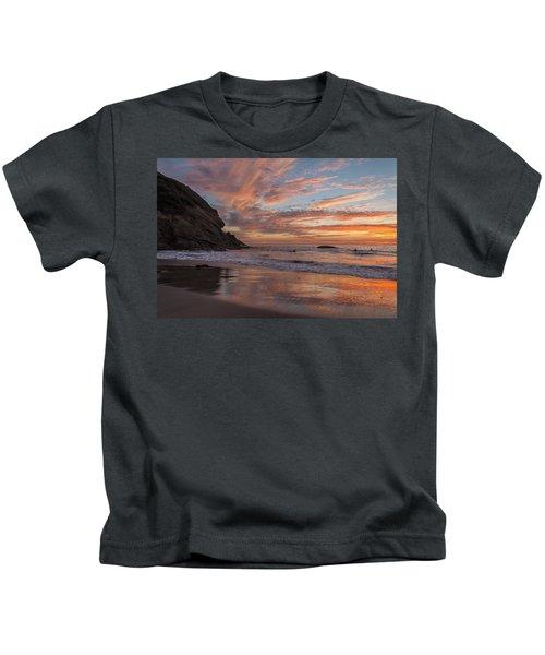Surfers And Sunset At Strands Beach Dana Point Kids T-Shirt