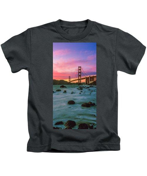 Suspension Bridge Across A Bay At Dusk Kids T-Shirt
